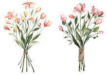 Two Bouquets With Spring Flowers. Watercolor Hand Painted Illustrations
