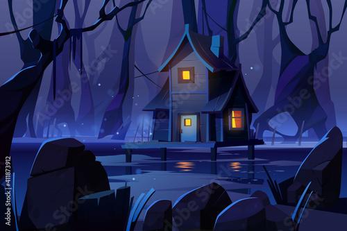 Obraz na plátne Wooden mystic stilt house on swamp in night forest