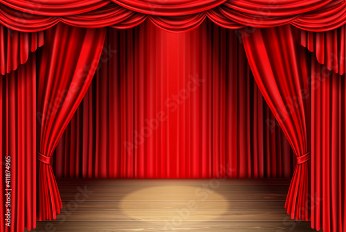 Obraz na plátně Red stage curtain for theater, opera scene drape