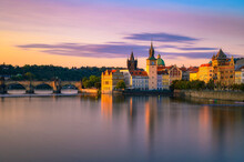 Charles Bridge And The Old Town Of Prague At Sunset