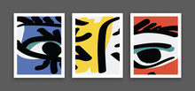 Set Of Abstract Art Face Image Vector