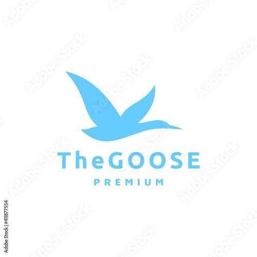 Obraz na plátne Flying Goose Silhouette Vector Logo Isolated on White Background