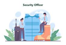 Security Guard Concept Set. Surveillance And Ptrotection Idea.