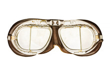 Vintage Leather Race Goggles Isolated On White