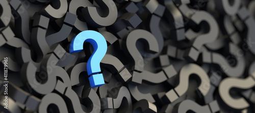 Fotografia, Obraz Blue question mark on a background of black signs, FAQ Concept