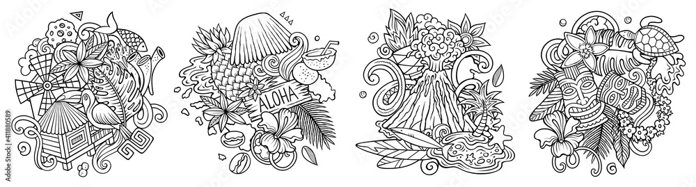 Fototapeta Hawaii cartoon vector doodle designs set.