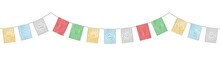 Colorful Tibetan Flags Decoration With Watercolor Effect Vector Isolated On White Background