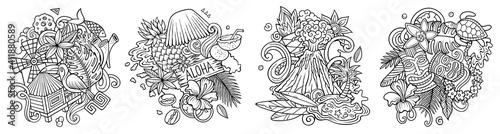 Obraz Hawaii cartoon vector doodle designs set. - fototapety do salonu