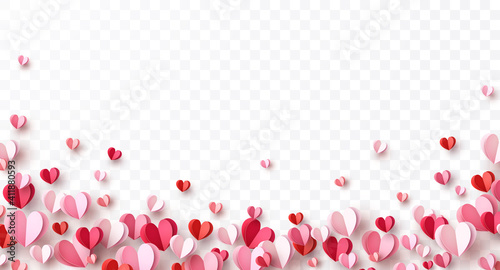 Obraz Valentine's paper confetti hearts isolated on transparent background. Vector pink and red symbols of love border for romantic banner or Happy Mother's Day greeting card design - fototapety do salonu