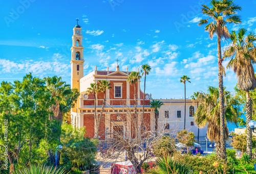 Obraz The slender belfry of St Peter's church, Tel Aviv, Israel - fototapety do salonu