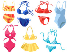 Womens Swimsuits, Bikini, One-piece Swimwear. Collection Of Hand Drawn Vector Illustrations. Colorful Cartoon Cliparts Isolated On White. Elements For Design, Print, Decor, Card, Sticker, Banner, Wrap