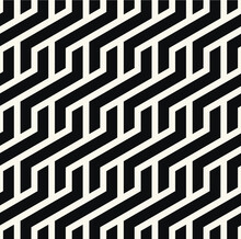 Vector Seamless Pattern. Modern Stylish Texture. Repeating Geometric Tiles With Weaved Bold Zigzag. Bold Monochrome Zig Zag. Trendy Graphic Design. Can Be Used As Swatch For Illustrator.