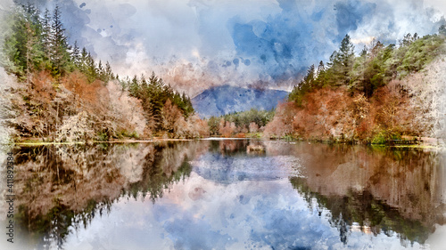 Stunning landscape image of Glencoe Lochan with Pap of Glencoe in the distance on a Winter's evening © veneratio