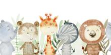 Watercolor Safari Animals.