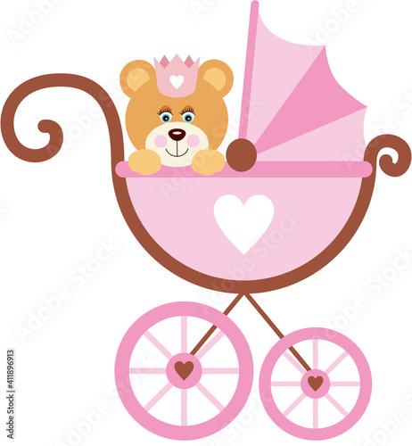 Girl teddy bear on baby carriage #411896913