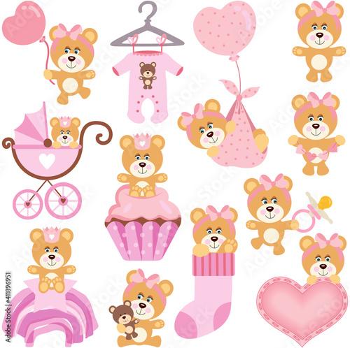 Set digital elements of baby girl teddy bear  #411896951