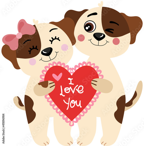 Sweet couple dogs holding a love heart  #411896984