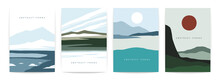 Mountain Abstract Posters. Minimalist Contemporary A4 Banners With Cold Scandinavian Landscapes. Vector Set
