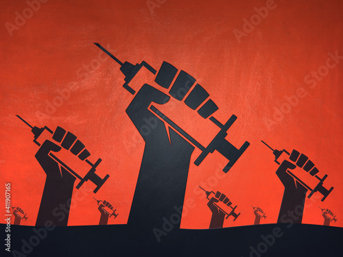 Fototapeta Hands with syringes vaccinations red revolution background obraz