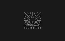Vector Of Square Sea And Sun Line Art Vintage Logo Template