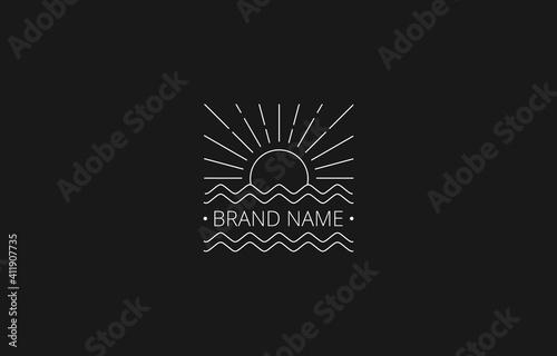 Fototapeta Vector of Square Sea and Sun Line Art Vintage Logo Template obraz