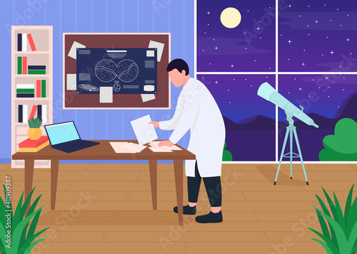 Fotografiet Astronomers workplace flat color vector illustration