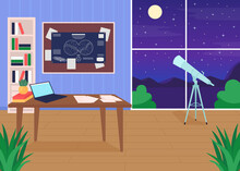 Astronomers Workplace Flat Color Vector Illustration. Science Papers And Documents Clipped On Special Board. Exploration Of Space Place 2D Cartoon Interior With Night Sky With Stars On Background