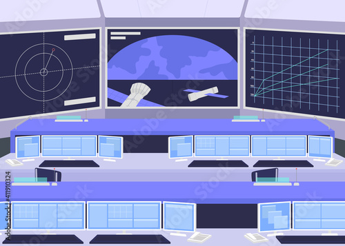 Foto Mission control center flat color vector illustration