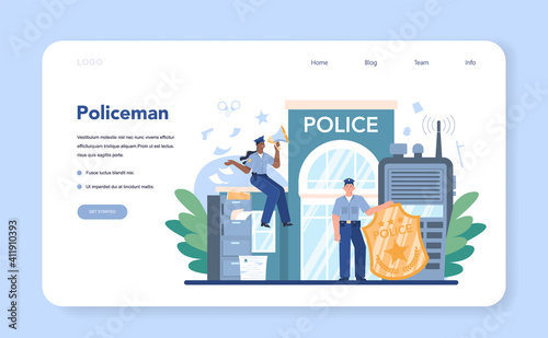 Canvas Print Police officer web banner or landing pag