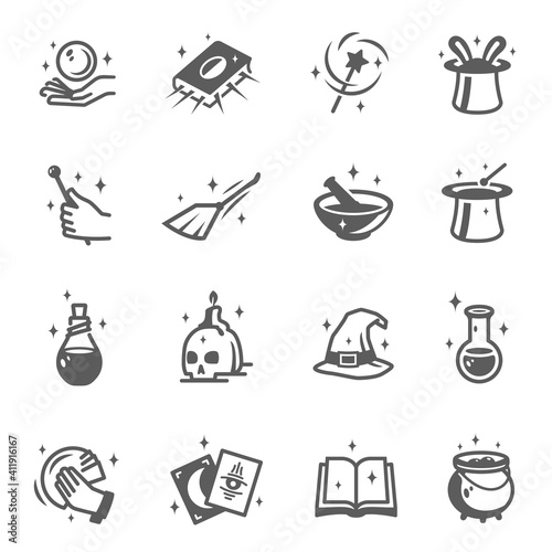 Foto Wizard, magician, sorcerer, witch accessories bold and line black silhouette icons set