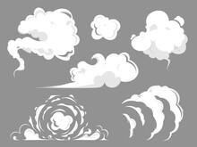 Smoke Cloud Comic Set. Set Of Stylized White Clouds.