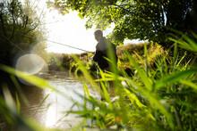 Man Fly Fishing At Sunny Idyllic Summer River