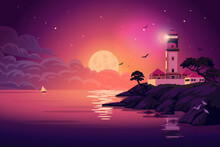 Lighthouse - Vector Landscape. Sea Landscape With Beacon On The Cliff At Night. Vector Horizontal Illustration In Flat Cartoon Style