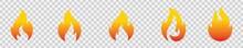 Fire Flat Icons Set, Flames, Flame Various Shapes, Bonfire Vector Illustration,
