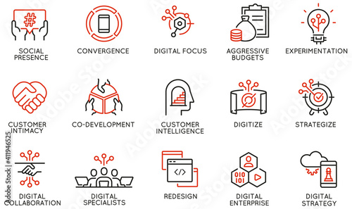 Canvas Print Vector Set of Linear Icons Related to Business Process Automation, Implementation of Innovative Business Models and Digital Transformation