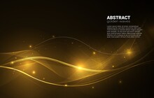 Golden Glowing Waves With Glitter On A Dark Background. Shiny Geometric Lines With Golden Sparkles And Glow.