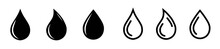 Set Of Water Drop Icons, Water Or Oil Drops In Flat And Line Style