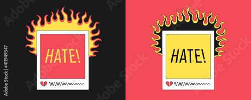 Fotografia Social media banner with fire and heading Hate
