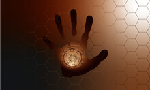 Hand Scan In Futuristic Style, Vector Of Handprint With Technological Theme, Concept Of Cyber Security J