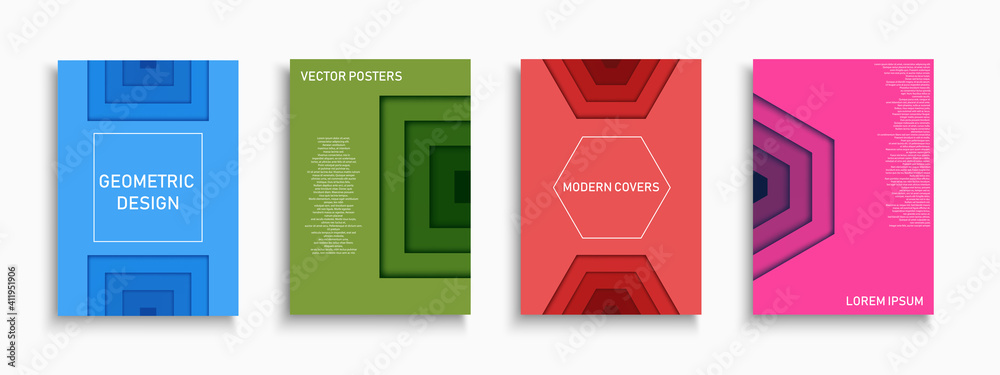 Fototapeta Set of vector colorful covers, templates, posters, placards, brochures, banners, flyers and etc. Contemporary geometric bright backgrounds. Minimalistic trendy vibrant design