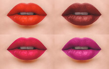 Sensual Lips Lipstick Swatches Set Of Close Up Photo Female Open Mouth With Four Different Lipstick Shades