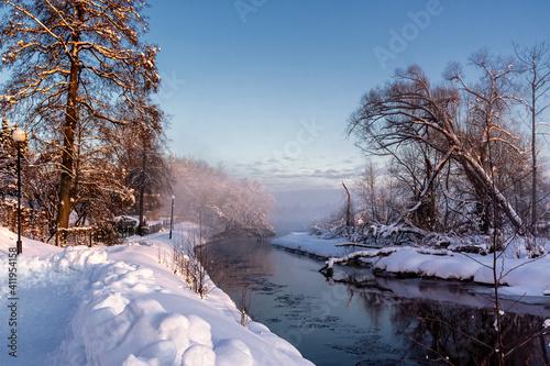Piękna zima w miasteczku Supraśl, Podlasie, Polska