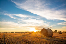 Beautiful Landscape Of Setting Sun Over A Big Agricultural Field Of Straw Rolled Into Bales. Rural Scenery