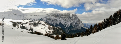 Panoramic View Of Snowcapped Mountains Against Sky #411956753