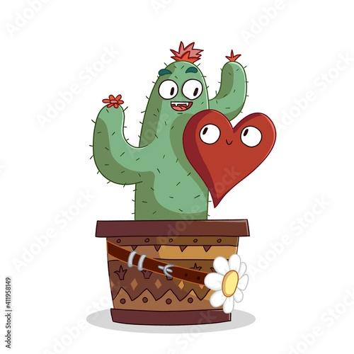 A cute cactus cartoon, with heart figure © Esin Deniz