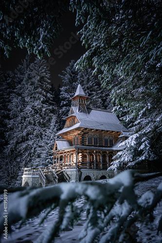 Fotomural Jaszczurówka - forest chapel in Zakopane during a snowy night