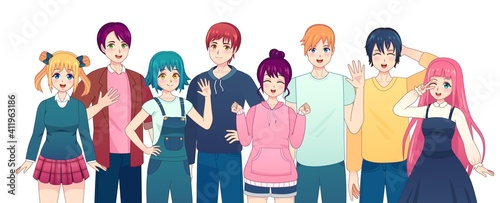 Fototapeta Group of anime characters. Young manga girls and boys friends in japanese comic style. Smiling korean male and female students vector set. Happy kawaii school people in casual clothing obraz