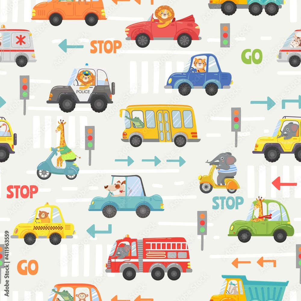 Fototapeta Animals in transport seamless pattern. Kid cartoon cars, bus, police and bike with animal driver. Vector texture with road traffic and signs. Lion, elephant, giraffe and dog on vehicle
