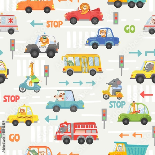Fototapeta Animals in transport seamless pattern. Kid cartoon cars, bus, police and bike with animal driver. Vector texture with road traffic and signs. Lion, elephant, giraffe and dog on vehicle obraz