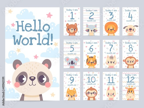 Fototapeta premium Baby month cards with animals. Monthly milestone stickers for newborn scrapbook. Kids age tags with sloth, lion, giraffe and fox vector set. Celebrating child growth with adorable characters